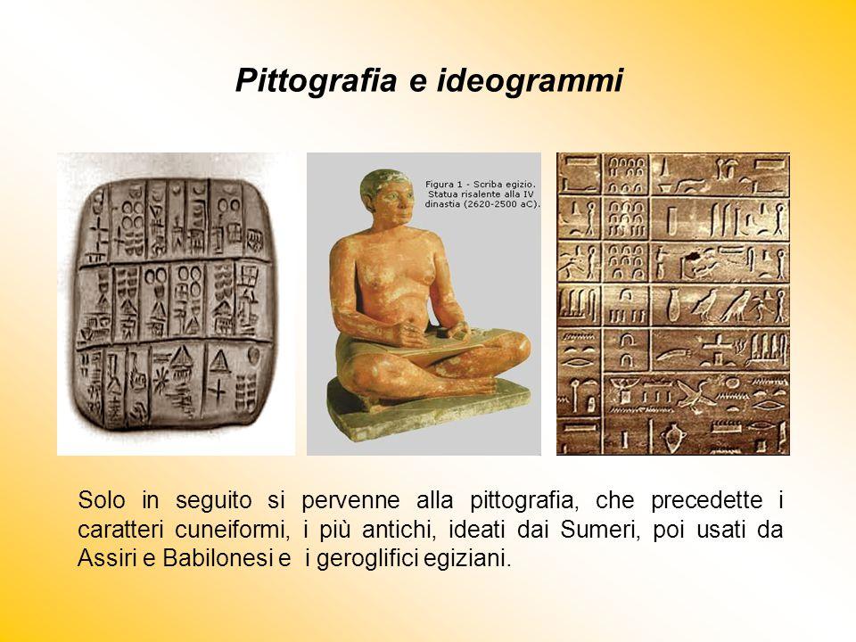 Pittografia e ideogrammi Solo in seguito si pervenne alla pittografia, che precedette i caratteri cuneiformi, i più antichi, ideati dai Sumeri, poi us