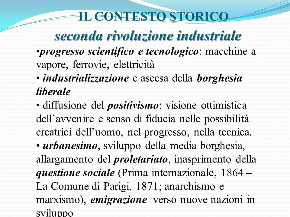 IL CONTESTO STORICO seconda rivoluzione industriale progresso scientifico e tecnologico: macchine a vapore, ferrovie, elettricità industrializzazione