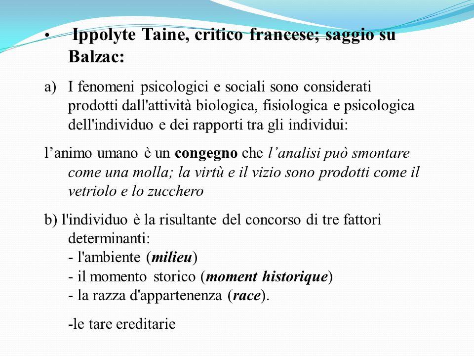 Ippolyte Taine, critico francese; saggio su Balzac: a)I fenomeni psicologici e sociali sono considerati prodotti dall'attività biologica, fisiologica