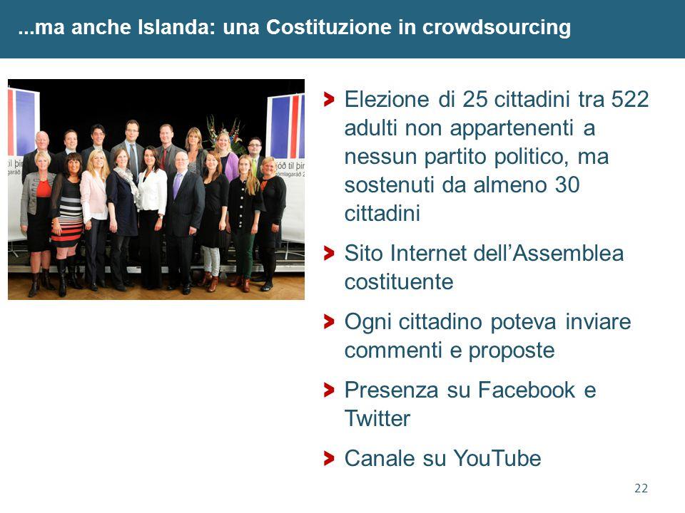 22...ma anche Islanda: una Costituzione in crowdsourcing > Elezione di 25 cittadini tra 522 adulti non appartenenti a nessun partito politico, ma sost