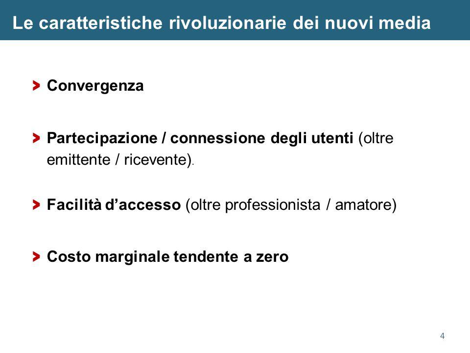 4 Le caratteristiche rivoluzionarie dei nuovi media > Convergenza > Facilità d'accesso (oltre professionista / amatore) > Partecipazione / connessione degli utenti (oltre emittente / ricevente).