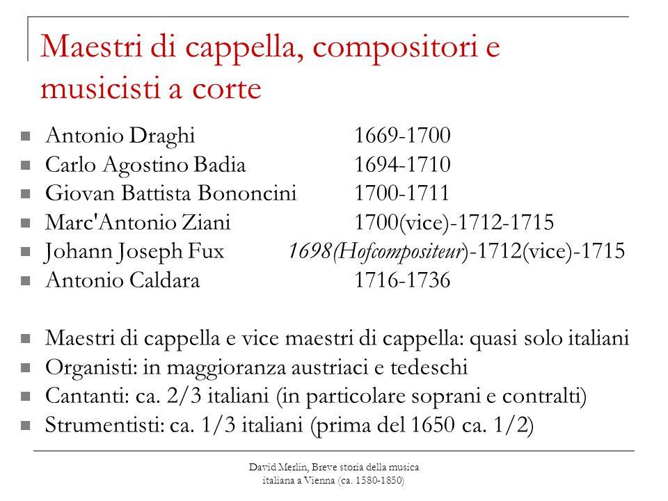 David Merlin, Breve storia della musica italiana a Vienna (ca. 1580-1850) Maestri di cappella, compositori e musicisti a corte Antonio Draghi 1669-170