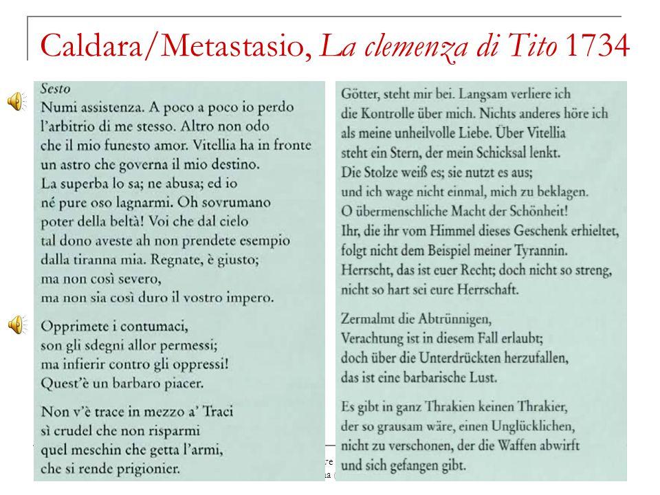 David Merlin, Breve storia della musica italiana a Vienna (ca. 1580-1850) Caldara/Metastasio, La clemenza di Tito 1734