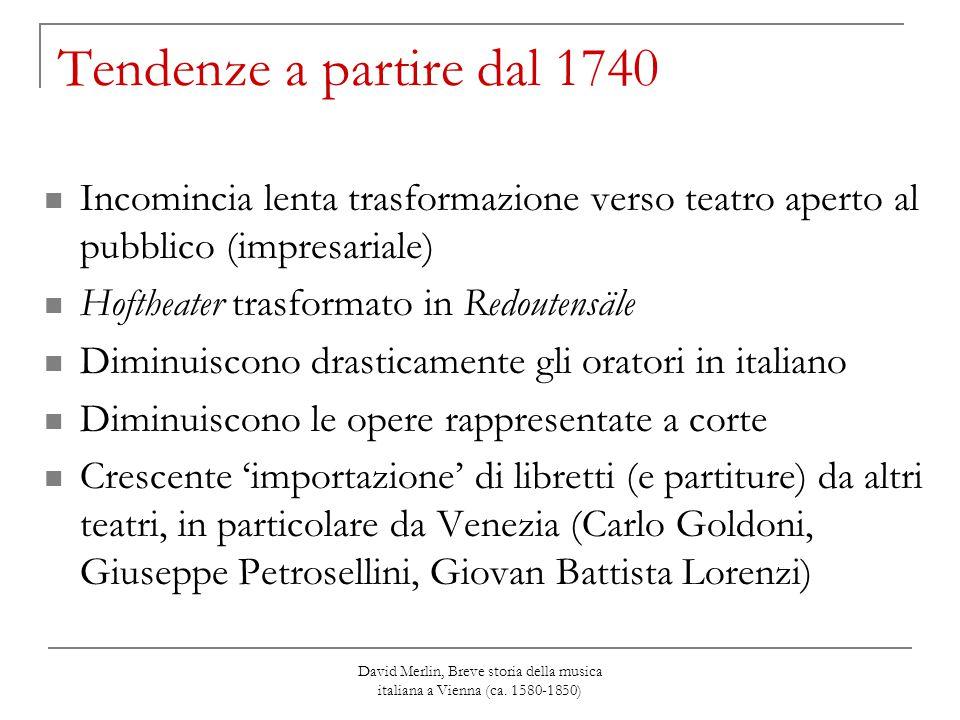 David Merlin, Breve storia della musica italiana a Vienna (ca. 1580-1850) Tendenze a partire dal 1740 Incomincia lenta trasformazione verso teatro ape