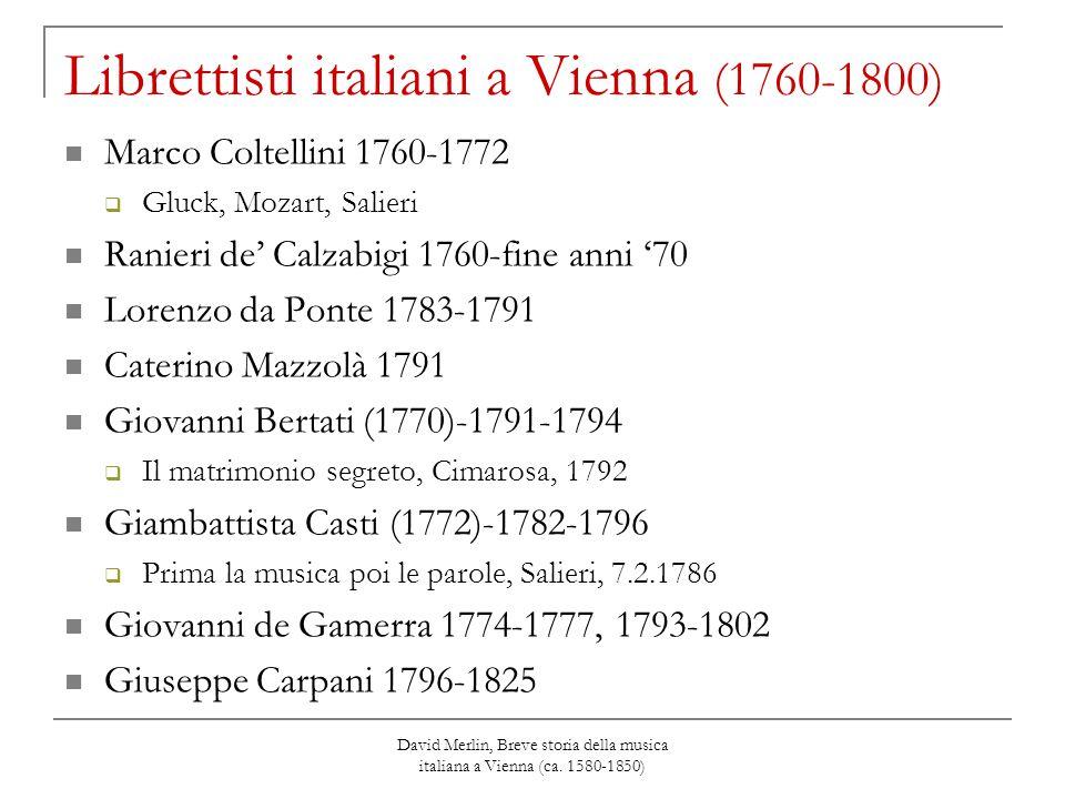 David Merlin, Breve storia della musica italiana a Vienna (ca. 1580-1850) Librettisti italiani a Vienna (1760-1800) Marco Coltellini 1760-1772  Gluck
