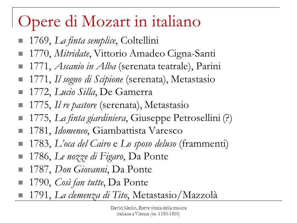 David Merlin, Breve storia della musica italiana a Vienna (ca. 1580-1850) Opere di Mozart in italiano 1769, La finta semplice, Coltellini 1770, Mitrid