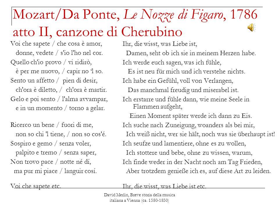 David Merlin, Breve storia della musica italiana a Vienna (ca. 1580-1850) Mozart/Da Ponte, Le Nozze di Figaro, 1786 atto II, canzone di Cherubino Voi