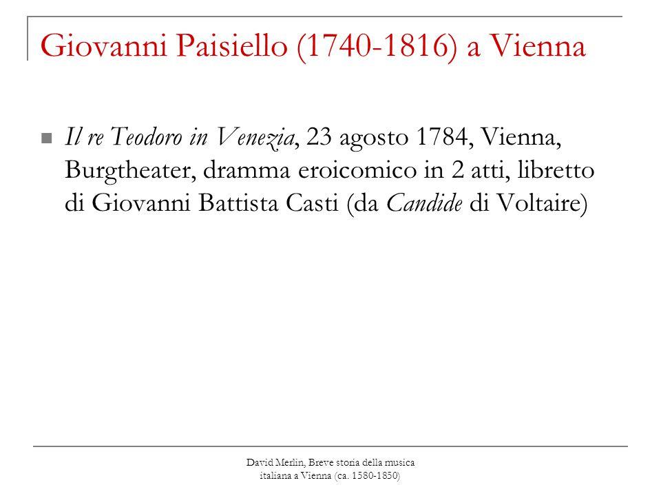 David Merlin, Breve storia della musica italiana a Vienna (ca. 1580-1850) Giovanni Paisiello (1740-1816) a Vienna Il re Teodoro in Venezia, 23 agosto