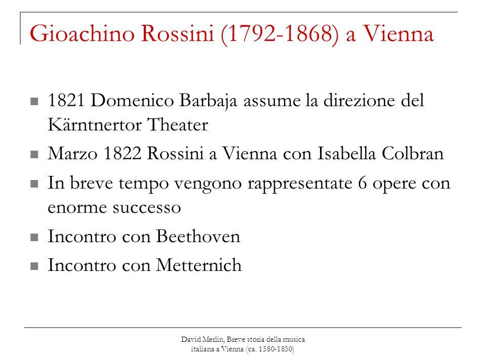 David Merlin, Breve storia della musica italiana a Vienna (ca. 1580-1850) Gioachino Rossini (1792-1868) a Vienna 1821 Domenico Barbaja assume la direz