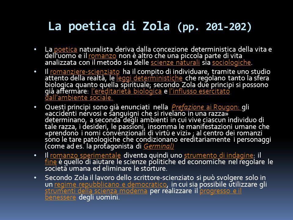 La poetica di Zola (pp. 201-202) La poetica naturalista deriva dalla concezione deterministica della vita e dell'uomo e il romanzo non è altro che una
