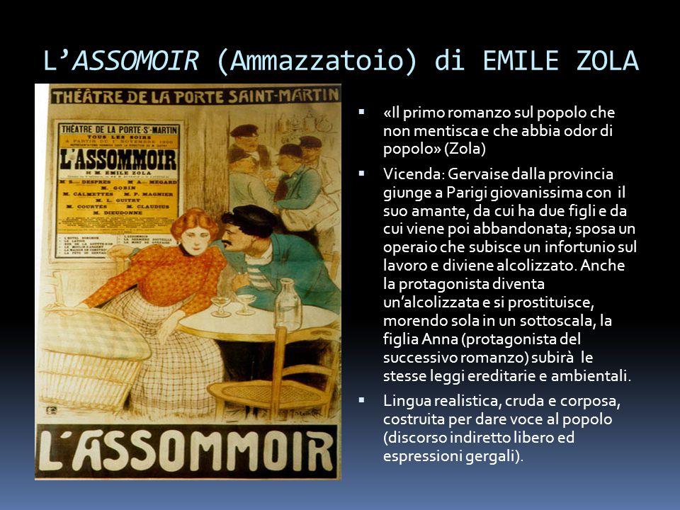 L'ASSOMOIR (Ammazzatoio) di EMILE ZOLA  «Il primo romanzo sul popolo che non mentisca e che abbia odor di popolo» (Zola)  Vicenda: Gervaise dalla pr