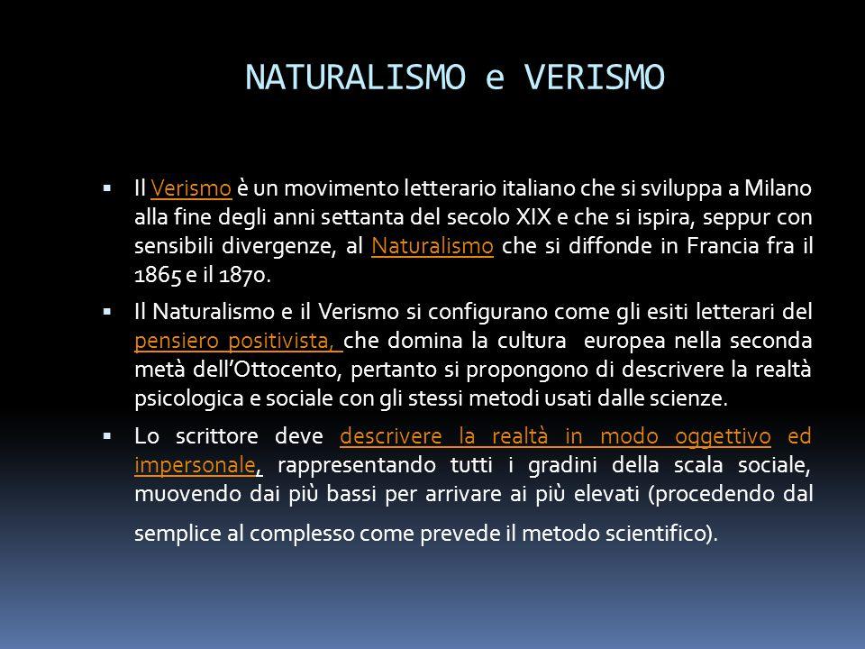 NATURALISMO e VERISMO  Il Verismo è un movimento letterario italiano che si sviluppa a Milano alla fine degli anni settanta del secolo XIX e che si i