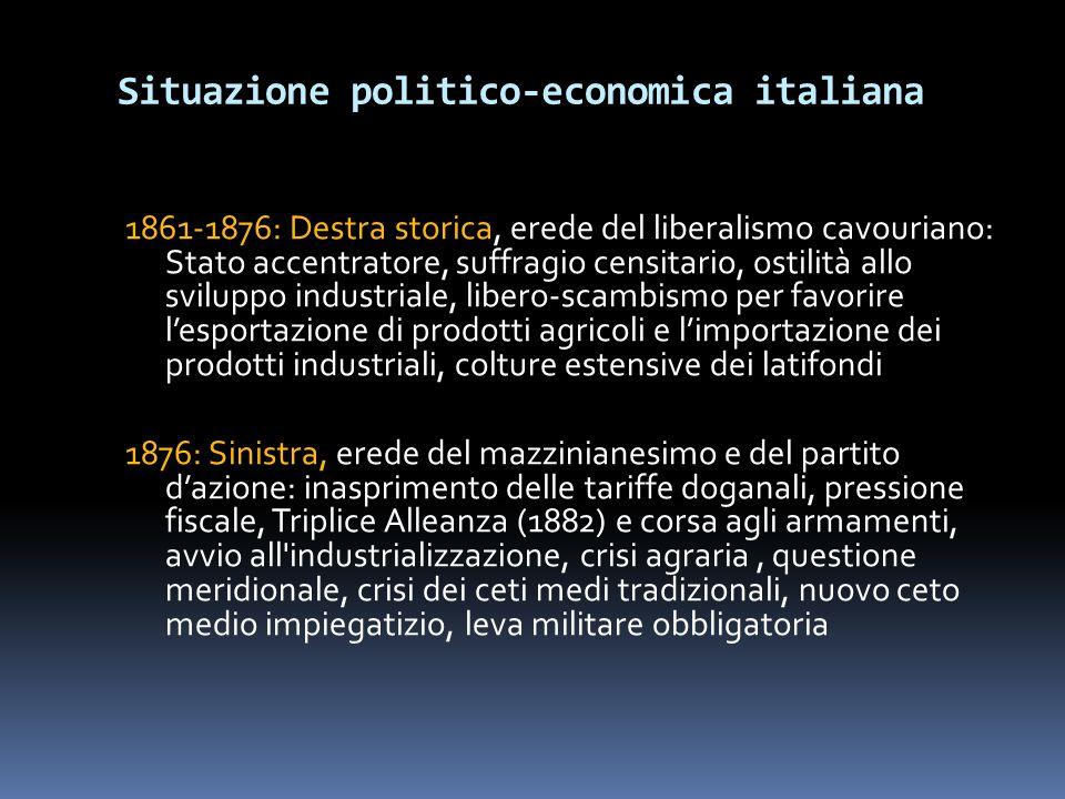 Situazione politico-economica italiana 1861-1876: Destra storica, erede del liberalismo cavouriano: Stato accentratore, suffragio censitario, ostilità