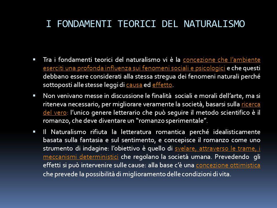 I FONDAMENTI TEORICI DEL NATURALISMO  Tra i fondamenti teorici del naturalismo vi è la concezione che l'ambiente eserciti una profonda influenza sui