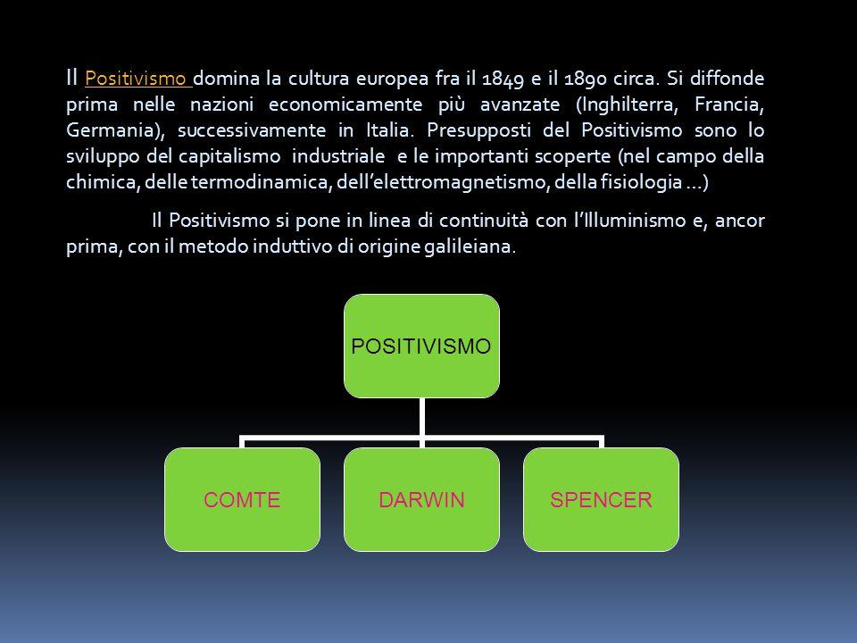 POSITIVISMO COMTEDARWINSPENCER Il Positivismo domina la cultura europea fra il 1849 e il 1890 circa. Si diffonde prima nelle nazioni economicamente pi