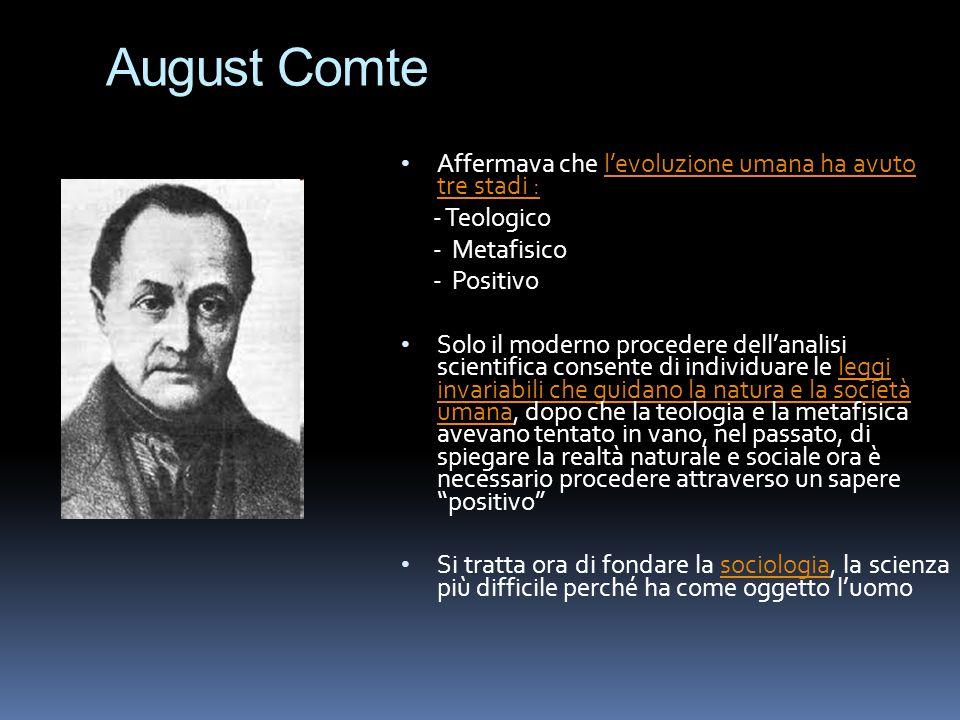 August Comte Affermava che l'evoluzione umana ha avuto tre stadi : - Teologico - Metafisico - Positivo Solo il moderno procedere dell'analisi scientif