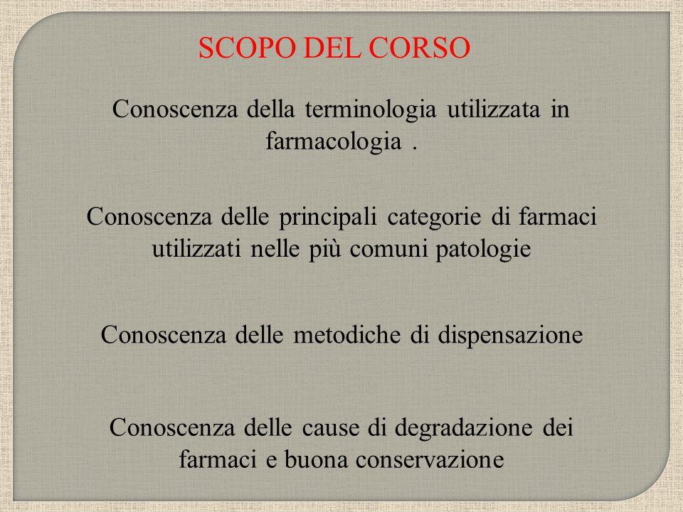 SCOPO DEL CORSO Conoscenza della terminologia utilizzata in farmacologia. Conoscenza delle principali categorie di farmaci utilizzati nelle più comuni