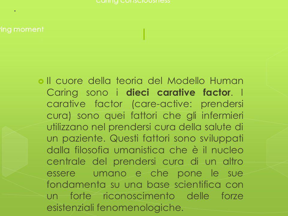 I  Il cuore della teoria del Modello Human Caring sono i dieci carative factor. I carative factor (care-active: prendersi cura) sono quei fattori che