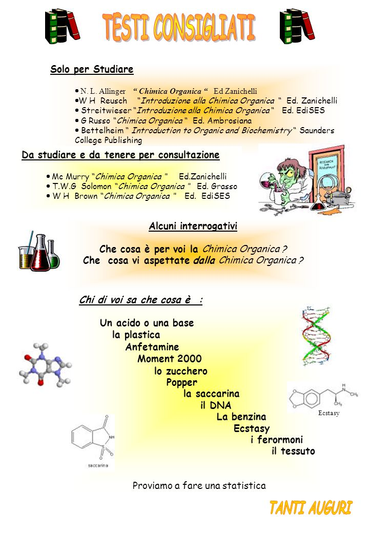 Chi di voi sa che cosa è : Un acido o una base la plastica Anfetamine Moment 2000 lo zucchero Popper la saccarina il DNA La benzina Ecstasy i ferormoni il tessuto Proviamo a fare una statistica Solo per Studiare  N.