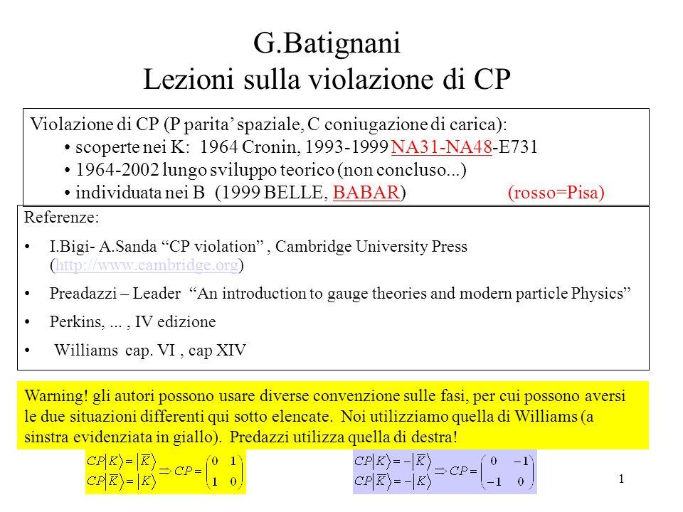 """1 G.Batignani Lezioni sulla violazione di CP Referenze: I.Bigi- A.Sanda """"CP violation"""", Cambridge University Press (http://www.cambridge.org)http://ww"""