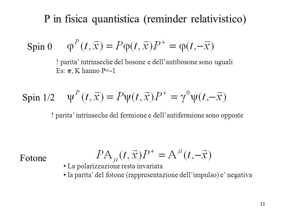 11 P in fisica quantistica (reminder relativistico) Spin 0 Spin 1/2 Fotone La polarizzazione resta invariata la parita' del fotone (rappresentazione d