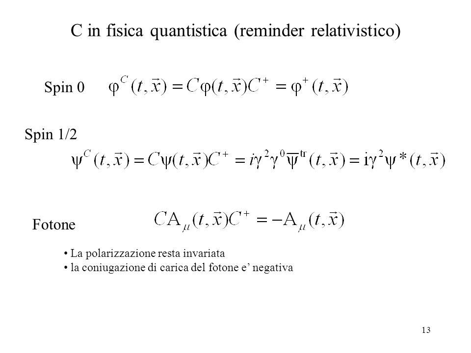 13 C in fisica quantistica (reminder relativistico) Spin 0 Spin 1/2 Fotone La polarizzazione resta invariata la coniugazione di carica del fotone e' n
