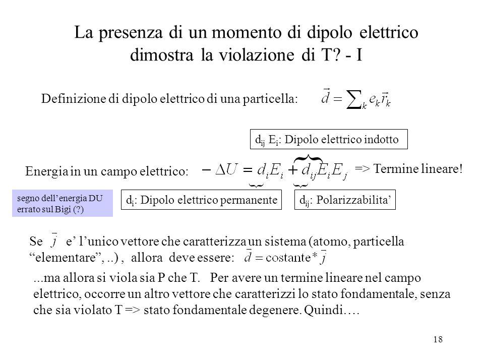 18 La presenza di un momento di dipolo elettrico dimostra la violazione di T? - I Definizione di dipolo elettrico di una particella: Energia in un cam