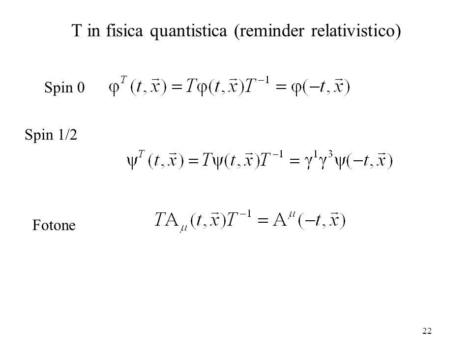 22 T in fisica quantistica (reminder relativistico) Spin 0 Spin 1/2 Fotone