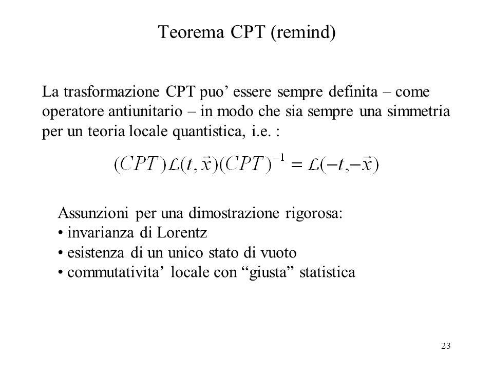 23 Teorema CPT (remind) La trasformazione CPT puo' essere sempre definita – come operatore antiunitario – in modo che sia sempre una simmetria per un