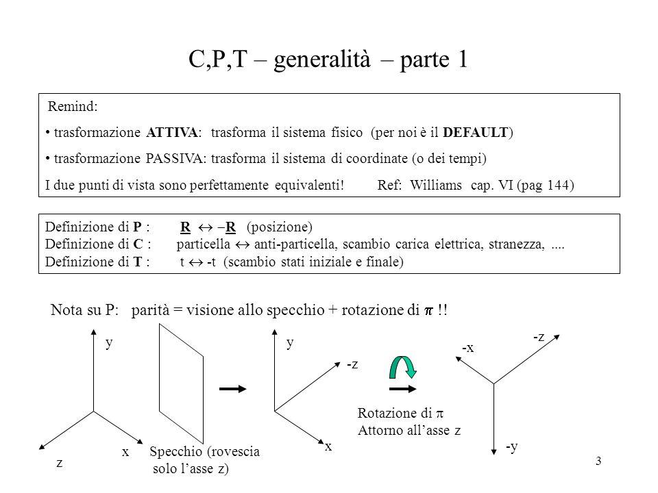 3 C,P,T – generalità – parte 1 Remind: trasformazione ATTIVA: trasforma il sistema fisico (per noi è il DEFAULT) trasformazione PASSIVA: trasforma il