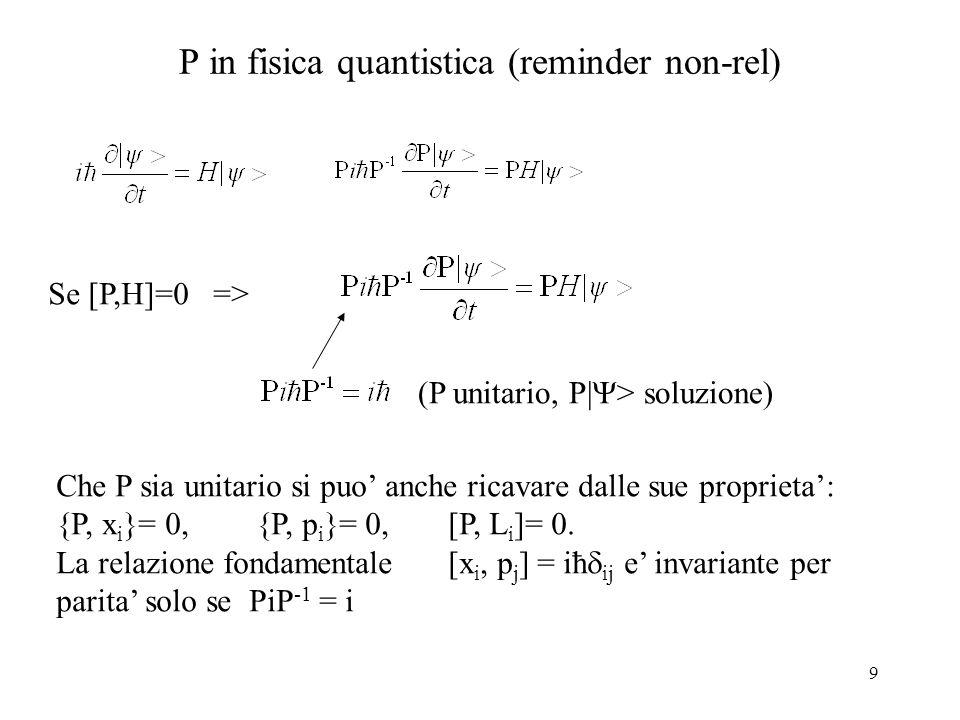9 P in fisica quantistica (reminder non-rel) Se [P,H]=0 => (P unitario, P|  > soluzione) Che P sia unitario si puo' anche ricavare dalle sue propriet
