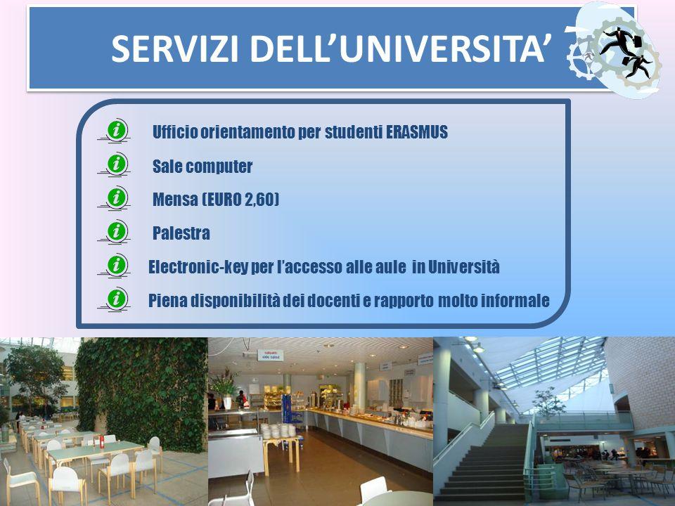 SERVIZI DELL'UNIVERSITA' Sale computer Mensa (EURO 2,60) Palestra Ufficio orientamento per studenti ERASMUS Electronic-key per l'accesso alle aule in
