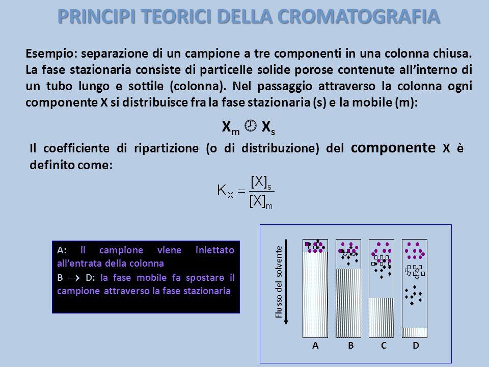 PRINCIPI TEORICI DELLA CROMATOGRAFIA Esempio: separazione di un campione a tre componenti in una colonna chiusa. La fase stazionaria consiste di parti