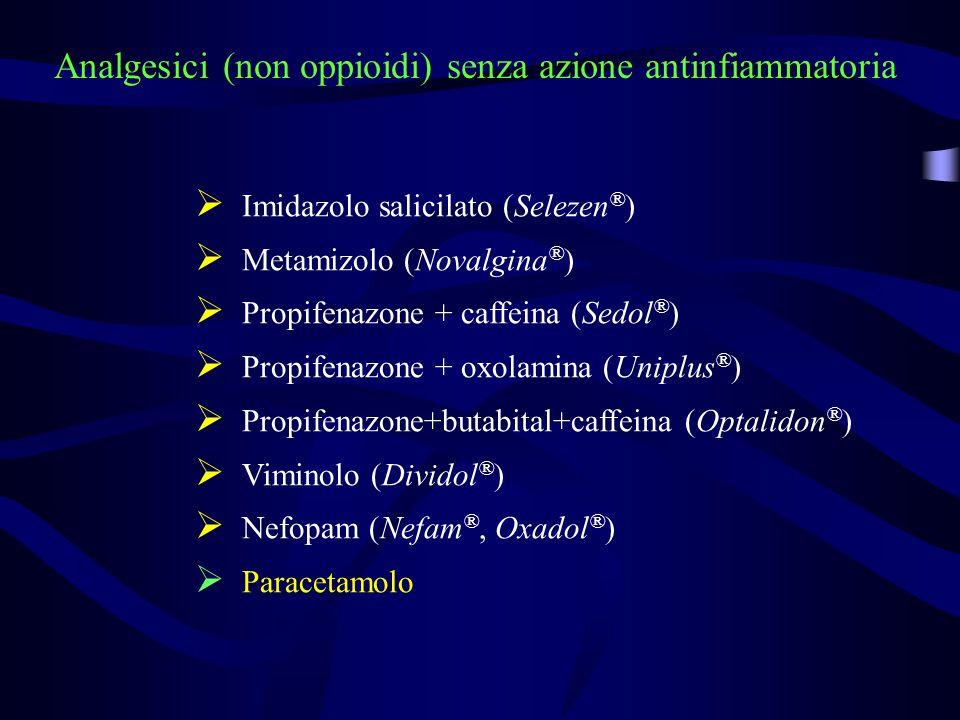 Analgesici (non oppioidi) senza azione antinfiammatoria  Imidazolo salicilato (Selezen ® )  Metamizolo (Novalgina ® )  Propifenazone + caffeina (Se