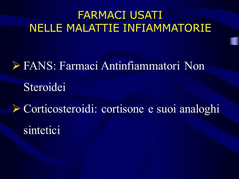 FARMACI USATI NELLE MALATTIE INFIAMMATORIE  FANS: Farmaci Antinfiammatori Non Steroidei  Corticosteroidi: cortisone e suoi analoghi sintetici