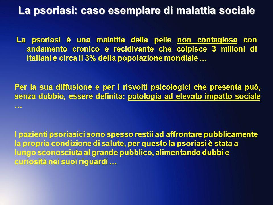 La psoriasi: caso esemplare di malattia sociale La psoriasi è una malattia della pelle non contagiosa con andamento cronico e recidivante che colpisce