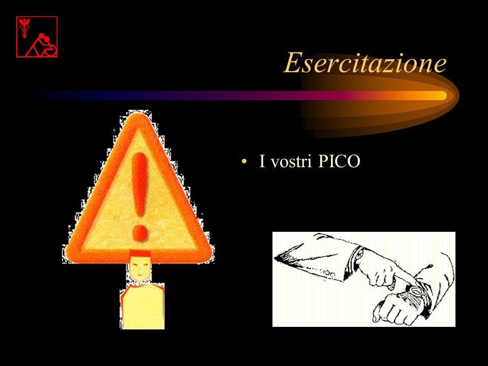 La domanda in 3 parti P (Paziente) I (Intervento) C (Comparazione) O (Outcome)