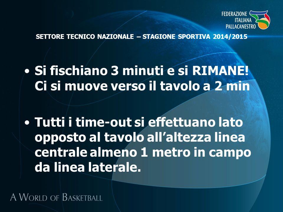 SETTORE TECNICO NAZIONALE – STAGIONE SPORTIVA 2014/2015 Si fischiano 3 minuti e si RIMANE.