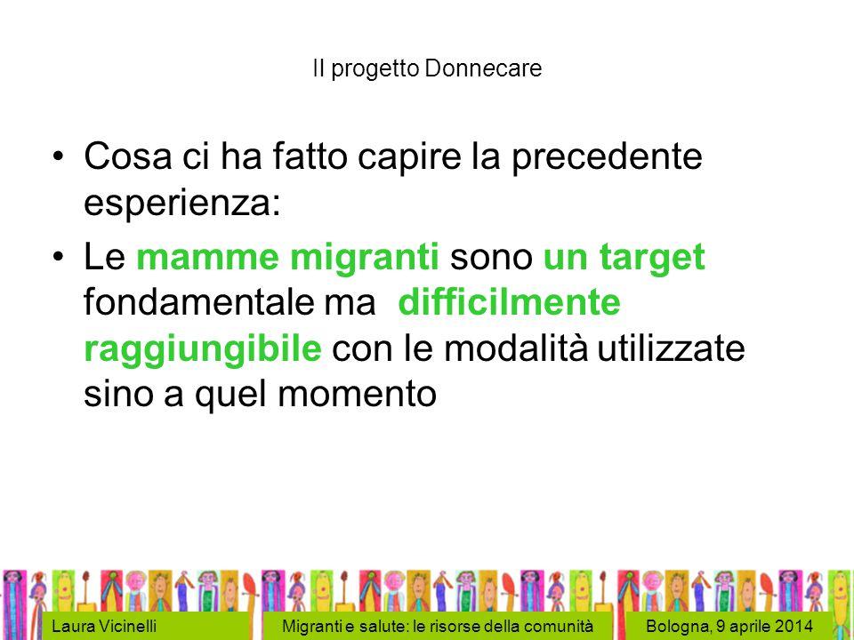 Bologna, 9 aprile 2014Laura VicinelliMigranti e salute: le risorse della comunità Il progetto Donnecare Cosa ci ha fatto capire la precedente esperienza: Le mamme migranti sono un target fondamentale ma difficilmente raggiungibile con le modalità utilizzate sino a quel momento