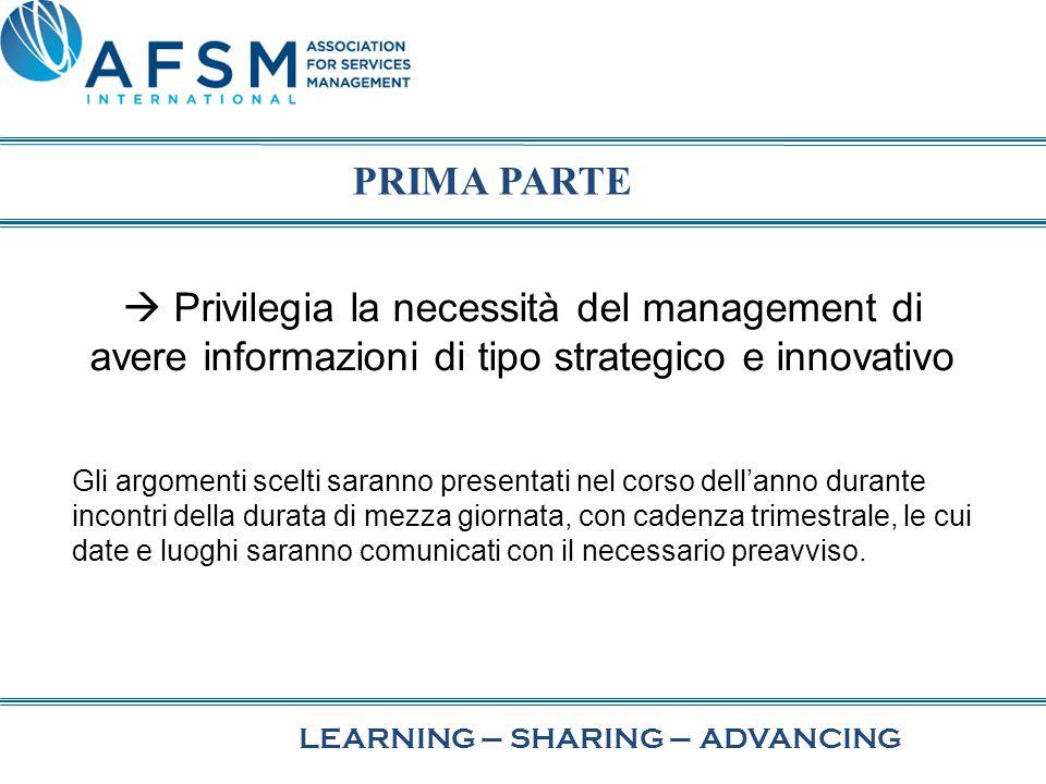 LEARNING–SHARING–ADVANCING  Privilegia la necessità del management di avere informazioni di tipo strategico e innovativo Gli argomenti scelti saranno
