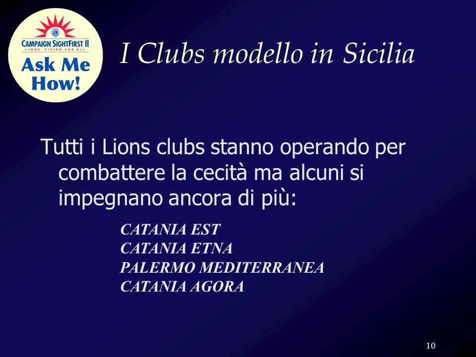 10 I Clubs modello in Sicilia Tutti i Lions clubs stanno operando per combattere la cecità ma alcuni si impegnano ancora di più: CATANIA EST CATANIA ETNA PALERMO MEDITERRANEA CATANIA AGORA
