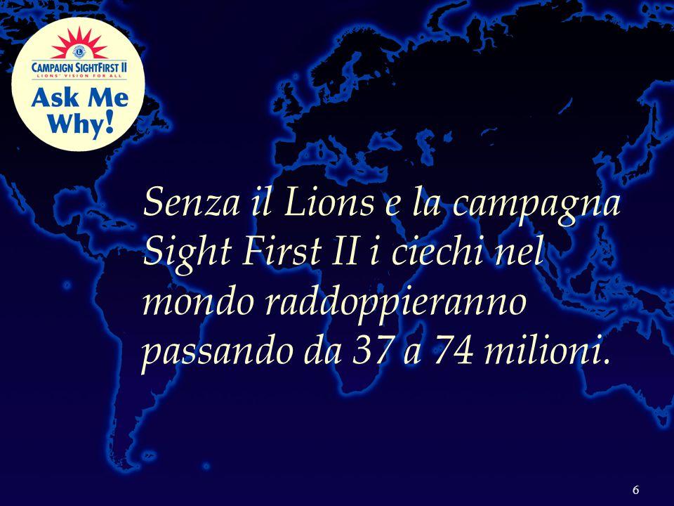 7 Il mondo guarda il Lions I Lions stanno procedendo a: I.Controllare ed eliminare, dove possibile, le cause della cecità; II.Combattere le patologie correlate; inclusa la cecità diabetica, il glaucoma ed i difetti refrattivi dell'infanzia III.Realizzare la Vista per Tutti attraverso la riabilitazione e la ricerca.
