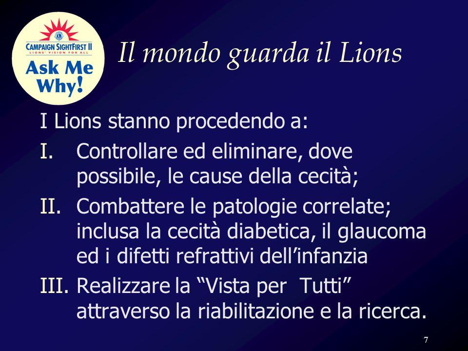 8 …cogli la differenza…  La campagna SightFirst II è più di una raccolta di fondi  Mobilitazione delle energie  Recupero della vista per 37.000.000 di persone nel mondo  Realizzare il coordinamento fra 1.300.000 Lions che operano nel mondo