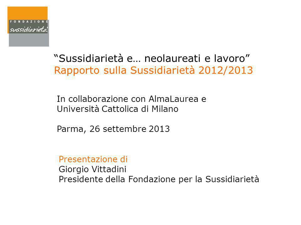 """""""Sussidiarietà e… neolaureati e lavoro"""" Rapporto sulla Sussidiarietà 2012/2013 Presentazione di Giorgio Vittadini Presidente della Fondazione per la S"""