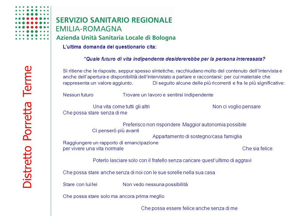 """Distretto Porretta Terme L'ultima domanda del questionario cita: """"Quale futuro di vita indipendente desidererebbe per la persona interessata? Si ritie"""