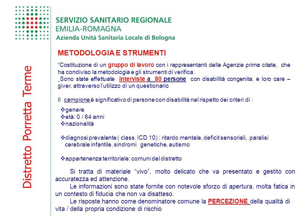 Distretto Porretta Terme METODOLOGIA E STRUMENTI Costituzione di un gruppo di lavoro con i rappresentanti delle Agenzie prima citate, che ha condiviso la metodologia e gli strumenti di verifica.