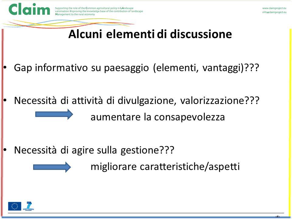 17 Alcuni elementi di discussione Gap informativo su paesaggio (elementi, vantaggi) .