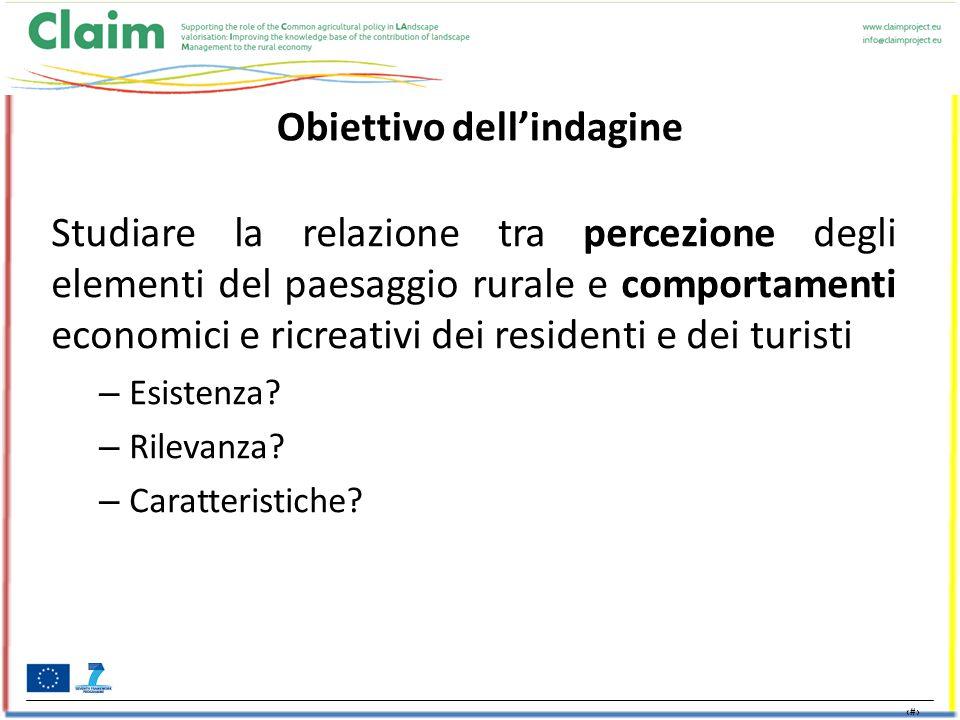 2 Obiettivo dell'indagine Studiare la relazione tra percezione degli elementi del paesaggio rurale e comportamenti economici e ricreativi dei residenti e dei turisti – Esistenza.