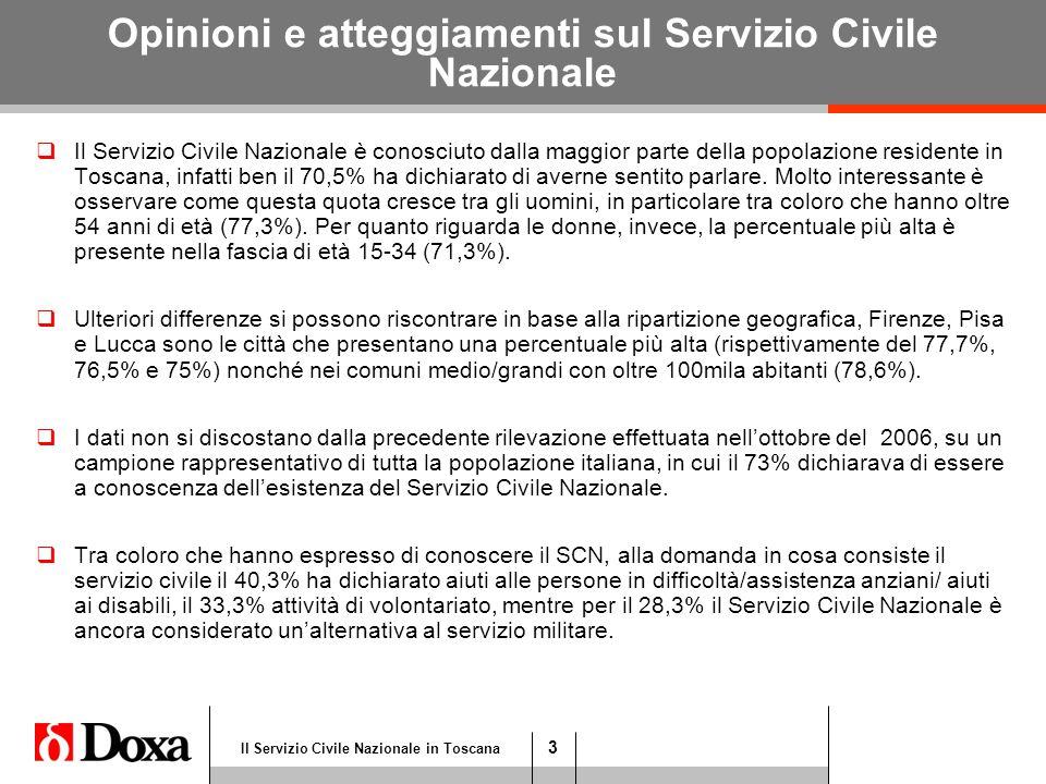 4 Il Servizio Civile Nazionale in Toscana Opinioni e atteggiamenti sul Servizio Civile Nazionale  Ben il 79,9% del campione ha dichiarato di essere venuto a conoscenza del SCN attraverso i mezzi di comunicazione di massa (TV nazionali/locali il 51,2%, stampa nazionale/locale il 28,7%).