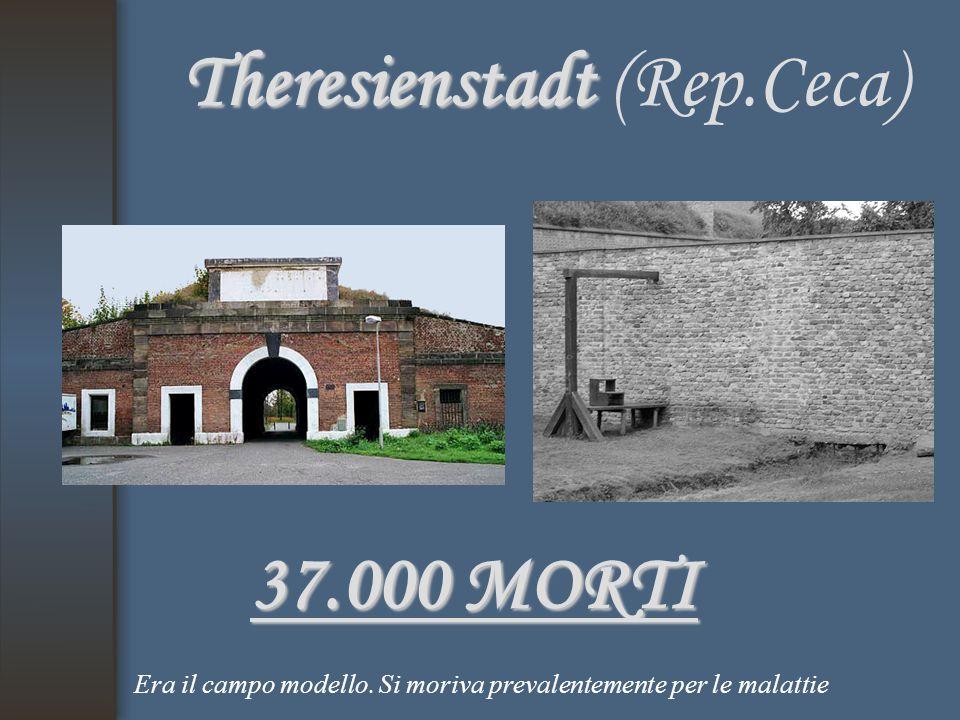 Theresienstadt Theresienstadt (Rep.Ceca) 37.000 MORTI Era il campo modello. Si moriva prevalentemente per le malattie